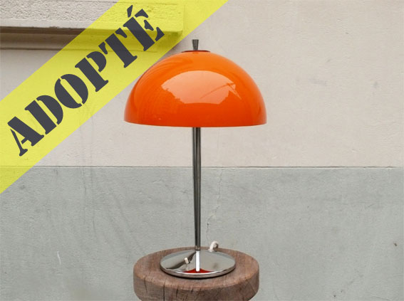 Lampe-champignon-années-70-orange-globe-chrome-2