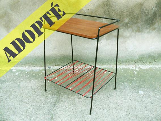 porte-revues-vintage-années-50-6050's-tablette-bout-de-canapé-table-adopté