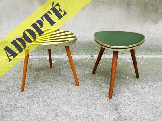 Petite-table-vintage-années-50-50's-tripode-vert-jaune-noir-porte-plantes-2
