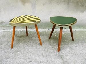 romaric-petite-table-vintage-années-50-50's-tripode-vert-jaune-noir-porte-plantes