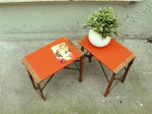 tabourets-porte-pots-plantes-ancien-minis-tablettes-plié-orange