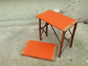 tabourets-porte-pots-plantes-ancien-tablette-orange-pliable