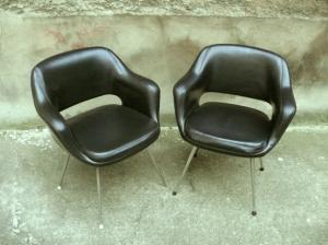 fauteuil-chaise-bureau-noir-cuir-eero-saarinen-conférence-années-50-vintage