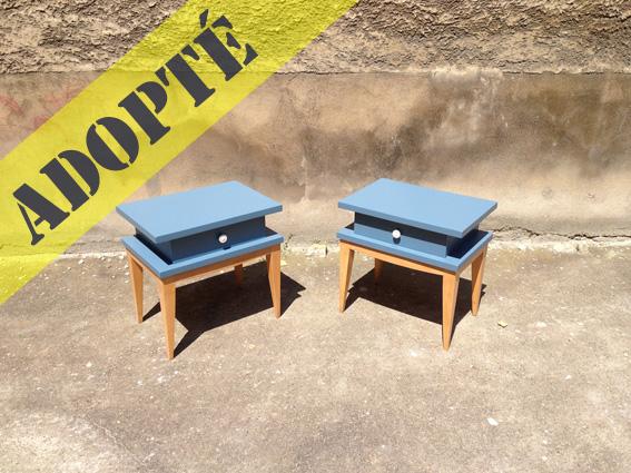 chevets bleus vintage 60 adopte un meuble. Black Bedroom Furniture Sets. Home Design Ideas