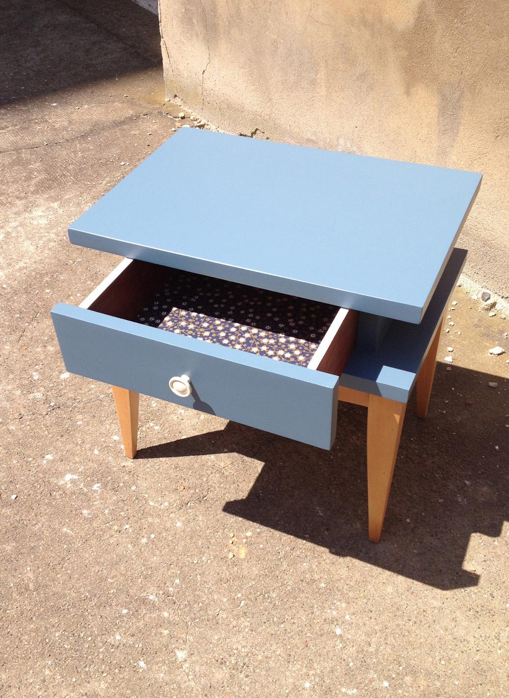 Chevets bleus vintage 60 adopte un meuble for Meuble japonais bleu