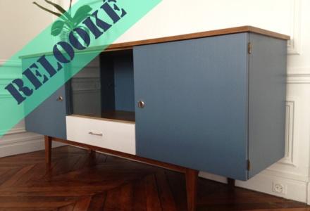 meuble-enfilade-années-50-scandinave-peinture-bleu-gris-vintage-rénové