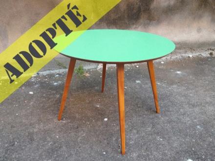 table-bois-vintage-années-50-scandinave-restaurée