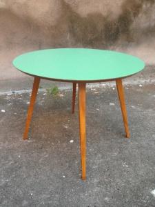 table-scandinave-vintage-bois-années-50-vert-bleue